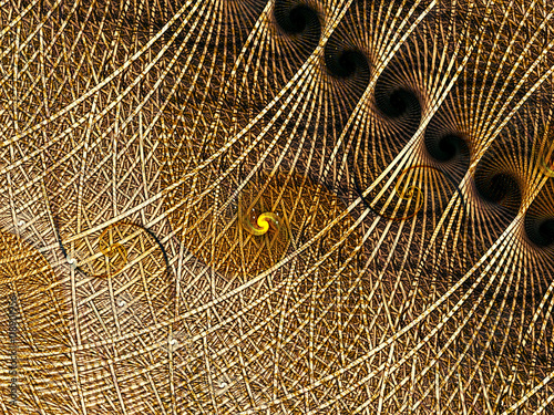 Fotografie, Obraz  Abstract digitally generated image twisted yarn and spirals