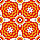 Bright ethnic abstract backdrop. Colorful kaleidoscope seamless pattern with decorative round ornament