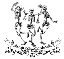 Happy Halloween Dancing Skeletons Isolated Vector Illustration For Fun Party Poster