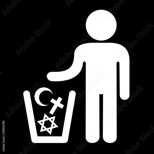 Vászonkép Atheism and denial of religious belief - vector illustration of man and waste co
