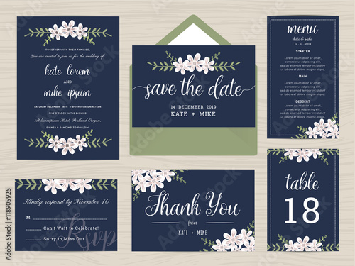 Fényképezés  Set of wedding suite template decorate with flower in navy blue color includes save the date, wedding invitation, wedding menu, RSVP, thank you card, table number