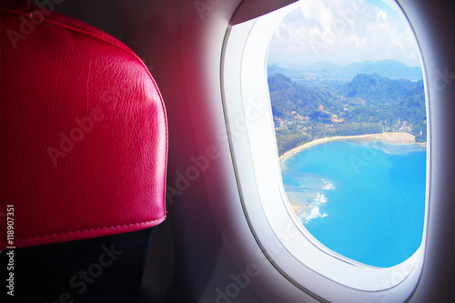 Seat and window airplane With view sea beach blue sunny in Phuket island - Trave Canvas Print