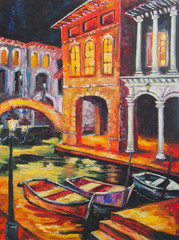 Obraz na Plexi Art Oil-Painting Picture Venice in the Night. Italy