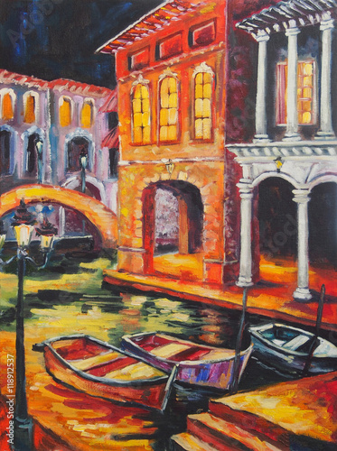 Art Oil-Painting Picture Venice in the Night. Italy - 118912537
