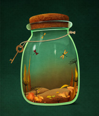 Bright autumn background with yellow leaves in a glass jar.