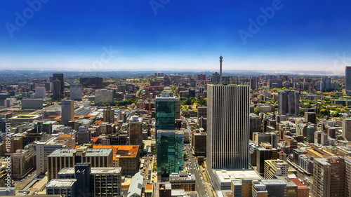 Poster Afrique du Sud Republic of South Africa. Johannesburg, Gauteng Province. Cityscape (north part) seen from the Carlton Center viewing deck