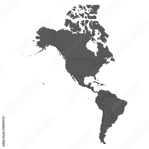 Costa Rica red on gray America map vector