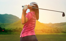 Young Women Player Golf Swing ...