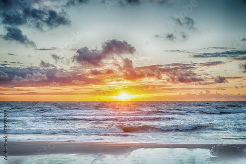 Fototapeta Sunset At The Stormy Sea, hdr image obraz na płótnie