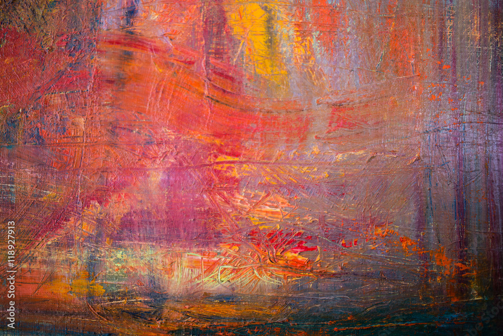 Fototapeta Painting Artistic bright color oil paints texture abstract artwork. Modern futuristic pattern for grunge wallpaper, interior, album, flyer cover, poster, booklet background. Creative graphic design