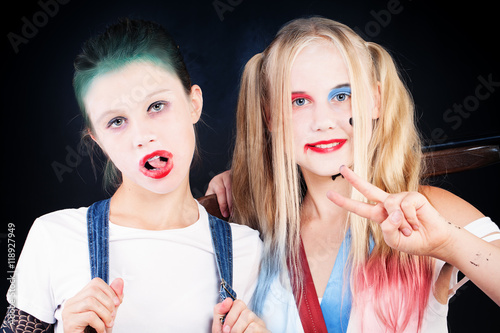 Valokuva  Young Girls with Halloween Makeup. Portrait of Two Children with