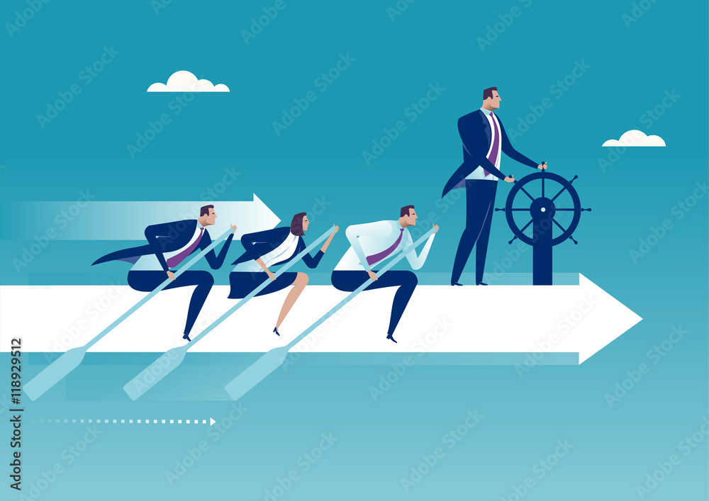 Fototapeta The Team. Group of business persons flying on white arrow. Business concept illustration.