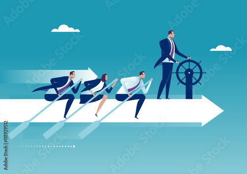 Obraz The Team. Group of business persons flying on white arrow. Business concept illustration. - fototapety do salonu