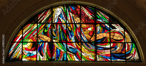 Fotografie, Obraz  Stained Glass - Immaculate Heart of Mary in Fatima