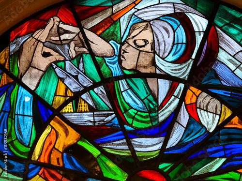 Fotografia, Obraz  Stained Glass - Apparition of Virgin Mary in Fatima