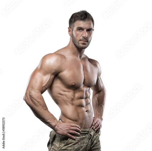 Fotografía  Muscular bodybuilder guy isolated over white background
