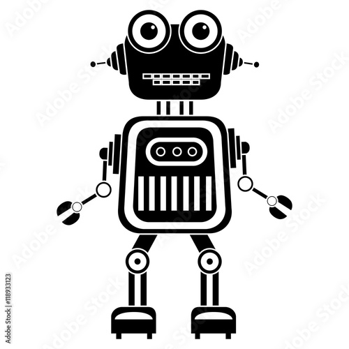 Photo  Vector robot silhouette