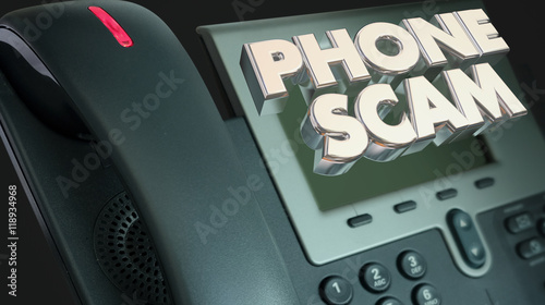 Fényképezés Phone Scam Fraud Call Solicitation Words 3d Illustration