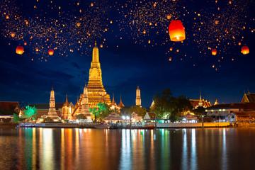 Wat arun s krathong lampionom, Bangkok Tajland