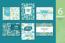 Six Abstract Vintage Thank You Cards Set With Text, Repeat Pattern Backgrounds Perfect For Any Event.