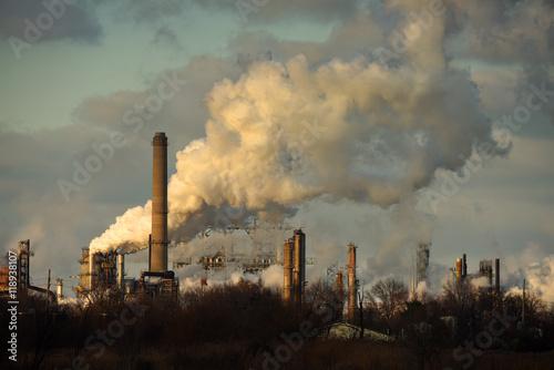 Fotografie, Obraz  Heavy Smoke at Oil Refinery