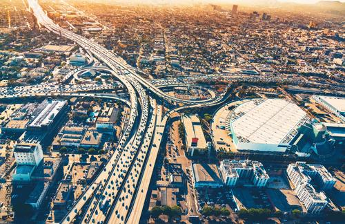 Zdjęcie XXL Widok z lotu ptaka skrzyżowania autostrady w Los Angeles
