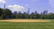 Green grass and baseball field of Central Park with Manhattan skyline and blue sky