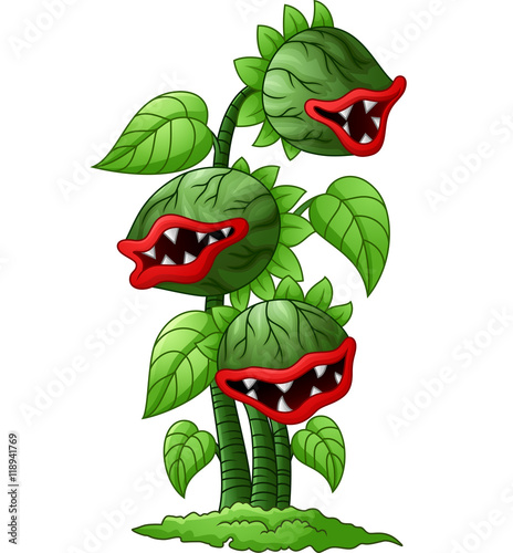 Stampa su Tela Cartoon carnivorous plant