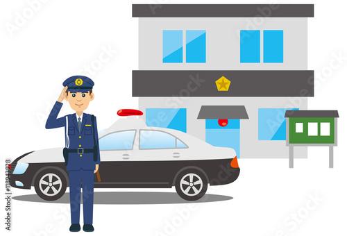 Fotografía  敬礼をする警察官とパトカーと交番のイメージイラスト