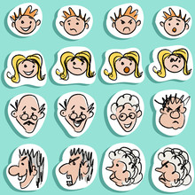 Family Doodles Emoticons Stickers Set