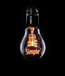 canvas print picture - Hanging lightbulb with glowing Simple concept.