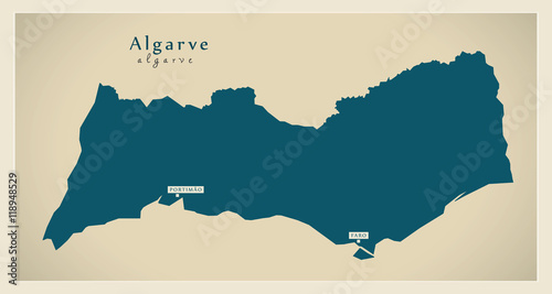 Photo Modern Map - Algarve Portugal refreshed PT