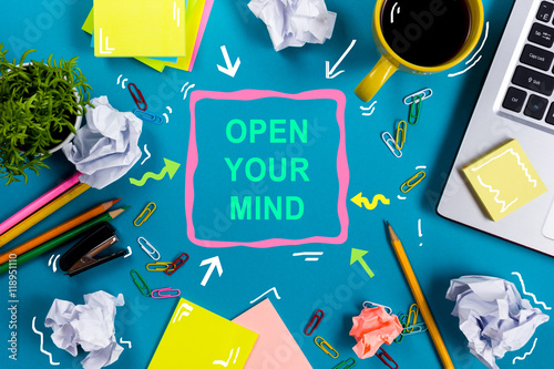 Open your mind office table desk with supplies white blank note open your mind office table desk with supplies white blank note pad cup mightylinksfo