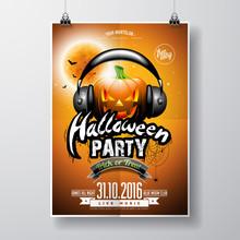Vector Halloween Party Flyer D...