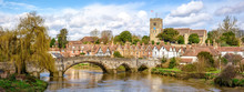 Rural Kent. Panoramic View Of Aylesford Village In Kent, England With Medieval Bridge And Church.