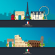 Rome and Paris. Tourism. Travelling illustration Rome and Paris city. Modern flat design. Italy travel. France