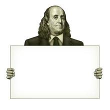 Blank Sign Held By Benjamin Franklin