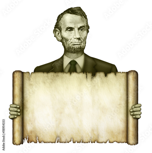 Blank Scroll Held by Abraham Lincoln Poster