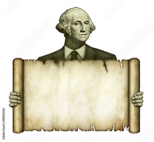 Blank Scroll Held by George Washington Poster