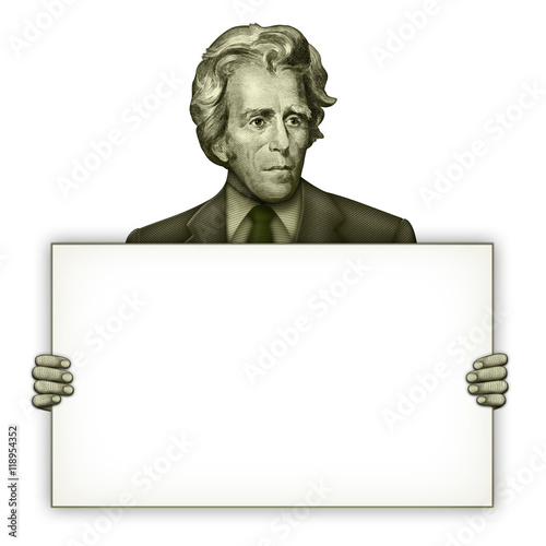 Blank Sign Held by President Andrew Jackson Canvas