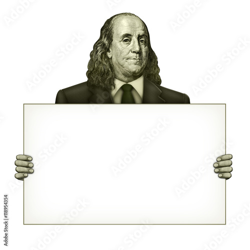 Blank Sign Held by Benjamin Franklin Poster