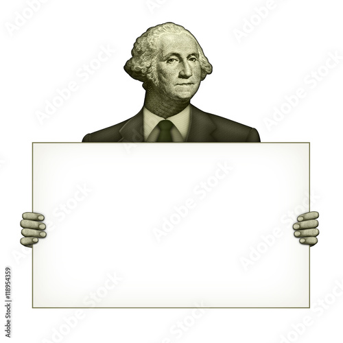 Blank Sign Held by George Washington Canvas