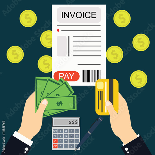 Paying bills and invoices, hand holding money and card vector