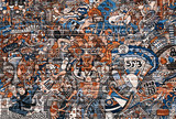 Fototapeta Młodzieżowe - Sports collage on a large brick wall, graffiti