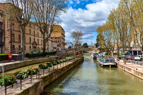 Photo sur Toile Canal The Canal de la Robine in Narbonne city. France