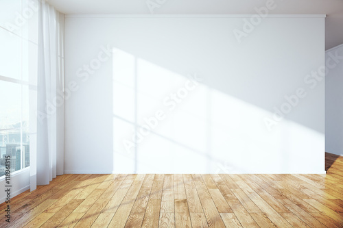 Obraz Interior with blank wall - fototapety do salonu