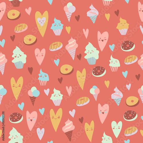 Materiał do szycia Piękny wzór słodyczy na szarym tle