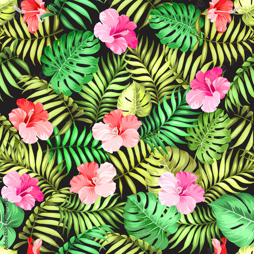 Cotton fabric Tropical flowers and jungle palms over black background for fabric texture. Vector illustration.