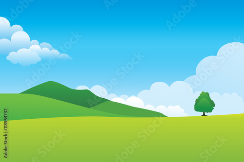 Foto op Aluminium Blauw Green hill landscape. Vector illustration of panorama view with green mountain landscape and cloud sky.