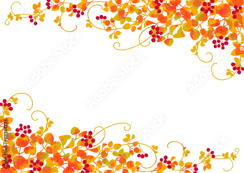 Photo 秋 つる植物 赤い実 黄葉 フレーム